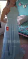 Scoop Neck Floor-Length Chiffon Lace Bridesmaid Dress With Pockets (266234581)
