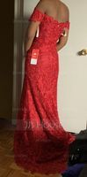 Trumpet/Mermaid Off-the-Shoulder Sweep Train Lace Prom Dresses (272204718)
