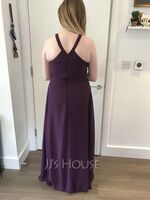 A-Line Scoop Neck Floor-Length Chiffon Bridesmaid Dress (266223928)
