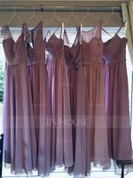 Empire V-neck Floor-Length Chiffon Bridesmaid Dress (266213273)