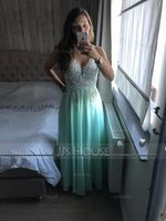 V-neck Floor-Length Chiffon Prom Dresses (272214551)