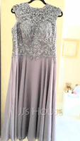 A-Line Scoop Neck Tea-Length Chiffon Lace Mother of the Bride Dress With Beading (008235588)