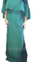 Sheath/Column Square Neckline Floor-Length Chiffon Bridesmaid Dress (266236767)