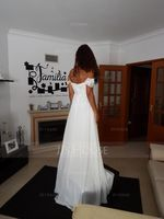 Off-the-Shoulder Sweep Train Chiffon Wedding Dress With Lace Beading Flower(s) (265217839)