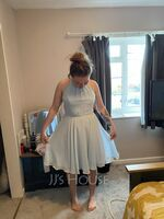 A-Line Scoop Neck Knee-Length Chiffon Bridesmaid Dress With Ruffle Bow(s) (007144757)
