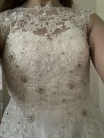 Scoop Neck Tea-Length Tulle Lace Wedding Dress With Beading Sequins (265193191)