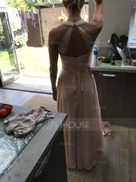 A-Line/Princess V-neck Floor-Length Chiffon Bridesmaid Dress With Ruffle Beading Bow(s) (266177112)