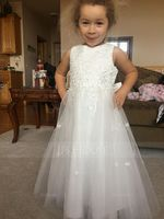A-Line/Princess Tea-length Flower Girl Dress - Satin Tulle Sleeveless Scoop Neck With Bow(s) (269177211)