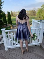 A-Line Scoop Neck Short/Mini Satin Homecoming Dress (300244453)