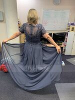 V-neck Floor-Length Chiffon Lace Mother of the Bride Dress (267250551)