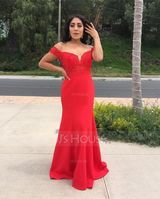 Trumpet/Mermaid Off-the-Shoulder Sweep Train Stretch Crepe Prom Dresses With Lace Beading (018220250)