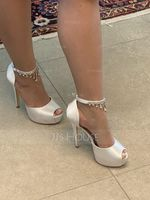 Women's Satin Stiletto Heel Peep Toe Platform Pumps Sandals With Rhinestone (273204735)