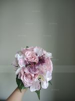 Classic Round Satin Bridal Bouquets (Sold in a single piece) - (123175730)