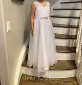 Floor-length Flower Girl Dress - Tulle Sleeveless V-neck With Ruffles Beading Sequins (269215717)
