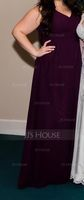 Empire V-neck Floor-Length Chiffon Bridesmaid Dress (266213210)