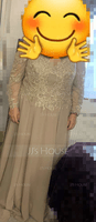 A-Line V-neck Floor-Length Chiffon Lace Mother of the Bride Dress (267253588)