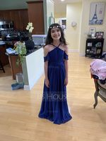 V-neck Floor-Length Chiffon Junior Bridesmaid Dress With Ruffle Bow(s) (268217875)