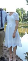 V-neck Knee-Length Satin Wedding Dress With Sequins (265197710)