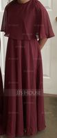 A-Line/Princess Scoop Neck Floor-Length Chiffon Junior Bridesmaid Dress (268177179)