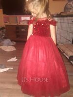 A-Line Floor-length Flower Girl Dress - Tulle/Sequined Sleeveless Scoop Neck (010255448)