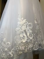 Ball-Gown/Princess Sweep Train Flower Girl Dress - Tulle/Lace Long Sleeves Scoop Neck With Sequins/Bow(s) (010217277)