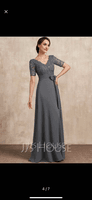 V-neck Floor-Length Chiffon Lace Mother of the Bride Dress With Sequins Bow(s) (267237374)