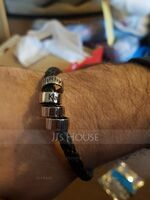 Custom Platinum Plated Men Braided Leather Bracelets With Custom Beads In Silver - Gifts For Men (106250635)