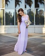 A-Line/Princess Scoop Neck Floor-Length Chiffon Lace Bridesmaid Dress With Beading Bow(s) (266177041)