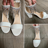 Women's Leatherette Chunky Heel Peep Toe Platform Sandals With Buckle Imitation Pearl Rhinestone Sparkling Glitter Pearl (047235326)