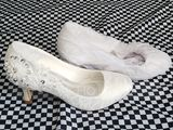 Women's Lace Silk Like Satin Stiletto Heel Closed Toe Pumps With Sequin Stitching Lace Crystal (047221747)
