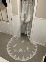 Two-tier Lace Applique Edge Cathedral Bridal Veils With Lace (006233683)
