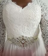 A-Line V-neck Sweep Train Wedding Dress With Lace (002254976)