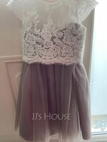 Ball-Gown/Princess Tea-length Flower Girl Dress - Tulle/Lace Short Sleeves Scoop Neck (010233181)