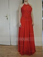 Halter Floor-Length Chiffon Lace Bridesmaid Dress With Bow(s) (266203988)