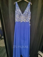 A-Line V-neck Floor-Length Chiffon Prom Dresses With Beading Split Front (272262026)