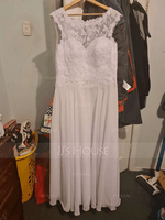 A-Line/Princess Scoop Neck Floor-Length Chiffon Wedding Dress With Beading Sequins (265176886)