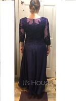 A-Line Scoop Neck Ankle-Length Chiffon Lace Mother of the Bride Dress (008179183)