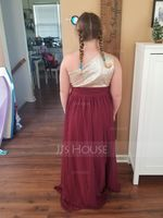 A-Line/Princess One-Shoulder Floor-Length Chiffon Junior Bridesmaid Dress With Ruffle (268177175)