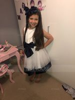 A-Line/Princess Knee-length Flower Girl Dress - Sleeveless Scoop Neck With Bow(s) (010108316)