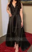 V-neck Asymmetrical Satin Evening Dress (271214421)