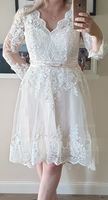 A-Line V-neck Asymmetrical Satin Tulle Lace Wedding Dress (002215658)