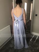 A-Line/Princess V-neck Floor-Length Chiffon Bridesmaid Dress With Ruffle Bow(s) (007105580)