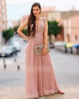 A-Line V-neck Floor-Length Chiffon Prom Dresses With Lace Split Front (018175947)
