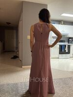 A-Line Scoop Neck Floor-Length Bridesmaid Dress With Split Front (007251594)