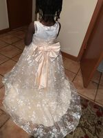 Ball-Gown/Princess Sweep Train Flower Girl Dress - Tulle/Lace Sleeveless Scoop Neck With Bow(s) (010217282)
