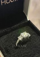 Three Stone Round Cut 925 Silver Engagement Rings (303257319)