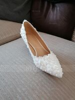 Women's Leatherette Stiletto Heel Closed Toe Pumps With Imitation Pearl Applique (047144218)