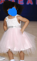 Ball-Gown/Princess Knee-length Flower Girl Dress - Sleeveless Scalloped Neck With Beading V Back (269258332)