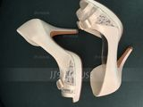 Women's Lace Satin Stiletto Heel Peep Toe Sandals (047092140)