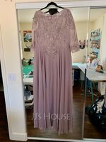A-Line Scoop Neck Floor-Length Chiffon Lace Mother of the Bride Dress With Sequins (008252072)
